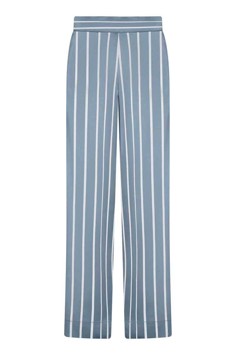 Blue and white stripe silk pyjama bottom