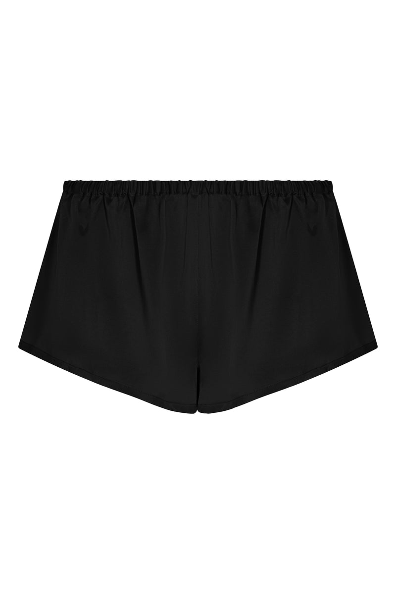 Venice Jet Black Silk Sleep Shorts