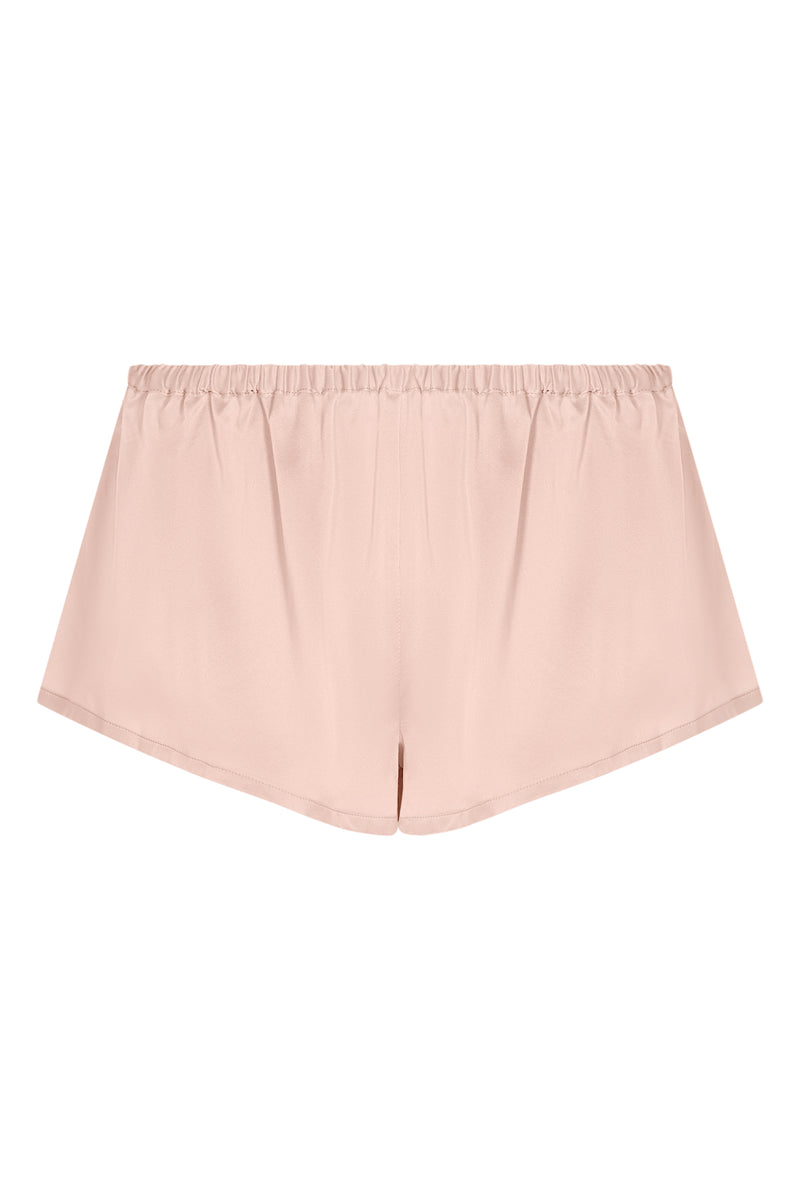Pale blush silk pyjama shorts