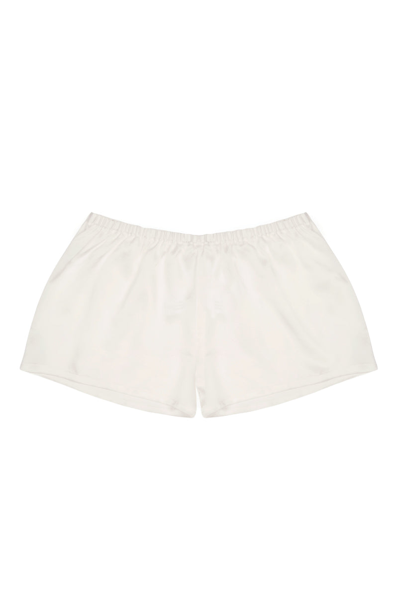 Venice White Silk Sleep Shorts