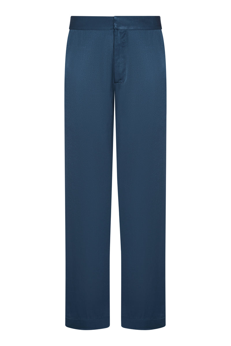 Blue bamboo satin tailored trouser