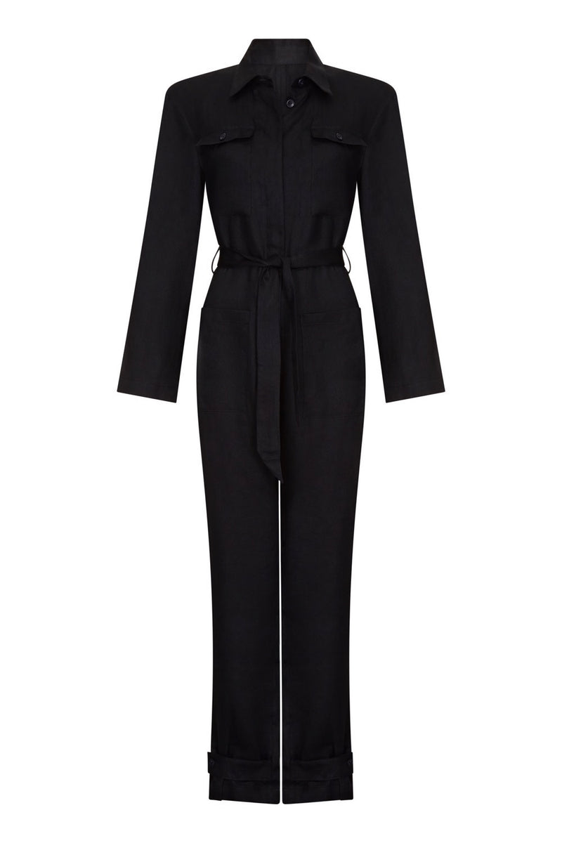 Black linen boilersuit