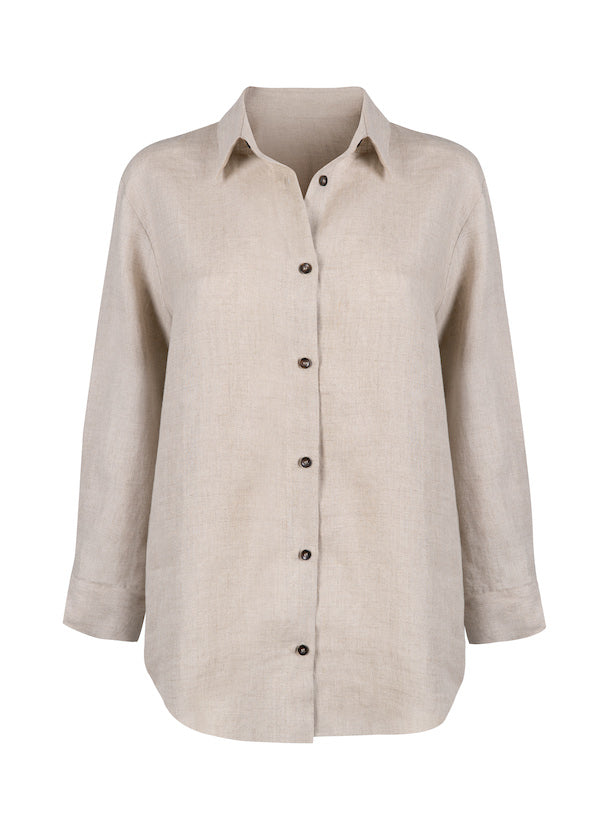 Natural beige oversized linen shirt