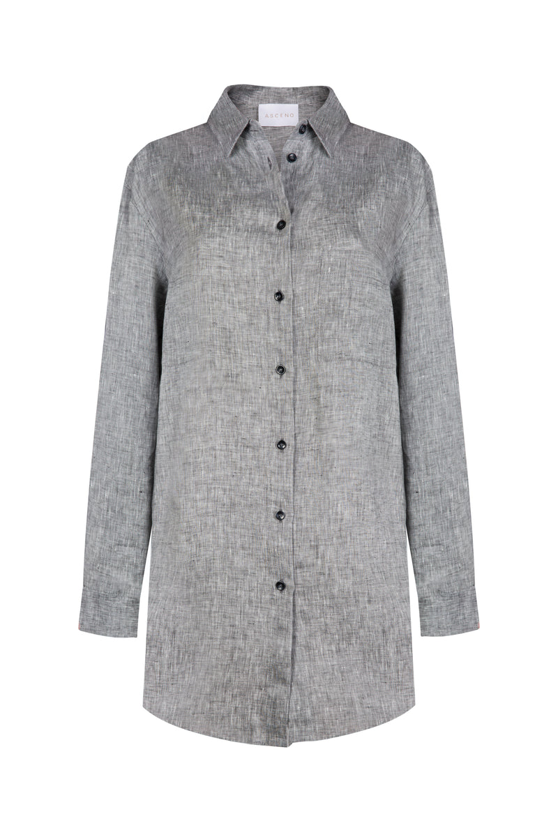 grey oversized linen shirt
