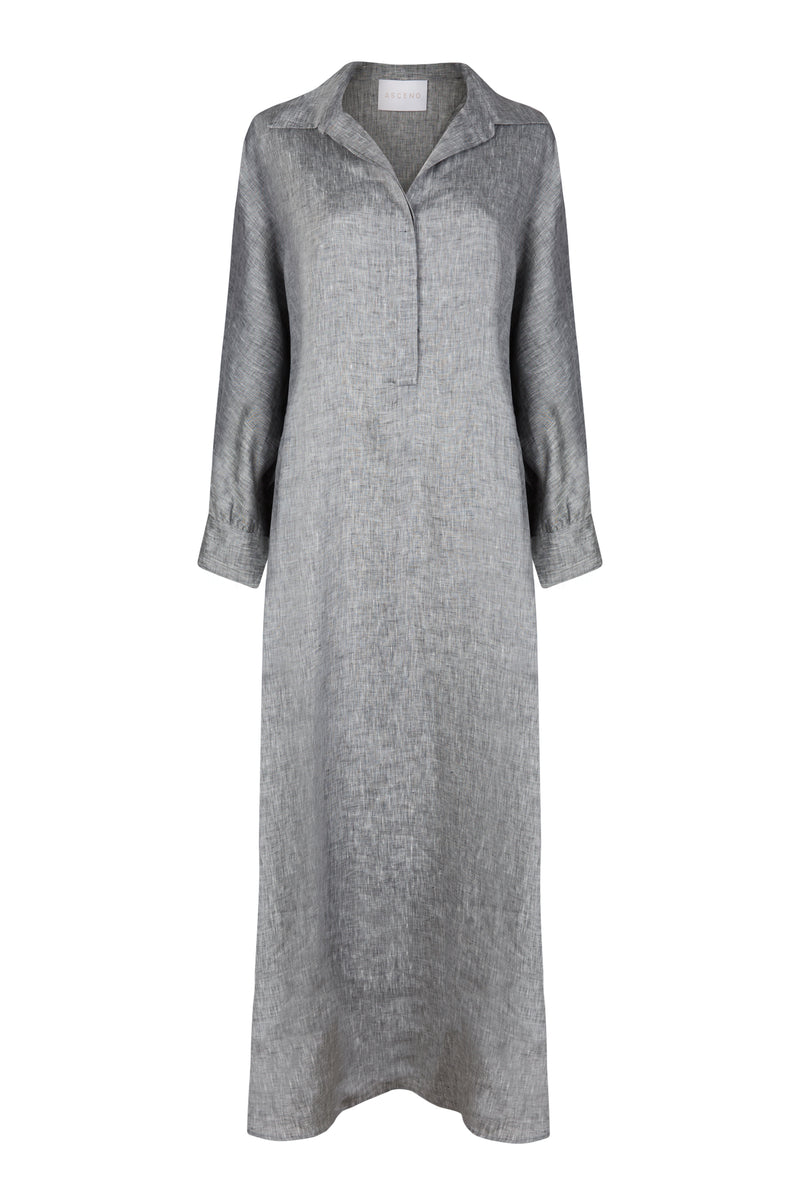 grey maxi linen shirt dress