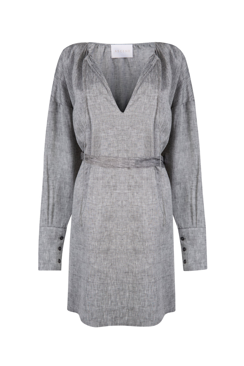 grey short linen sun dress