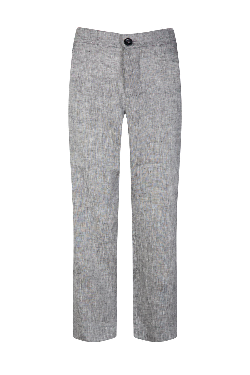 grey linen cropped trouser