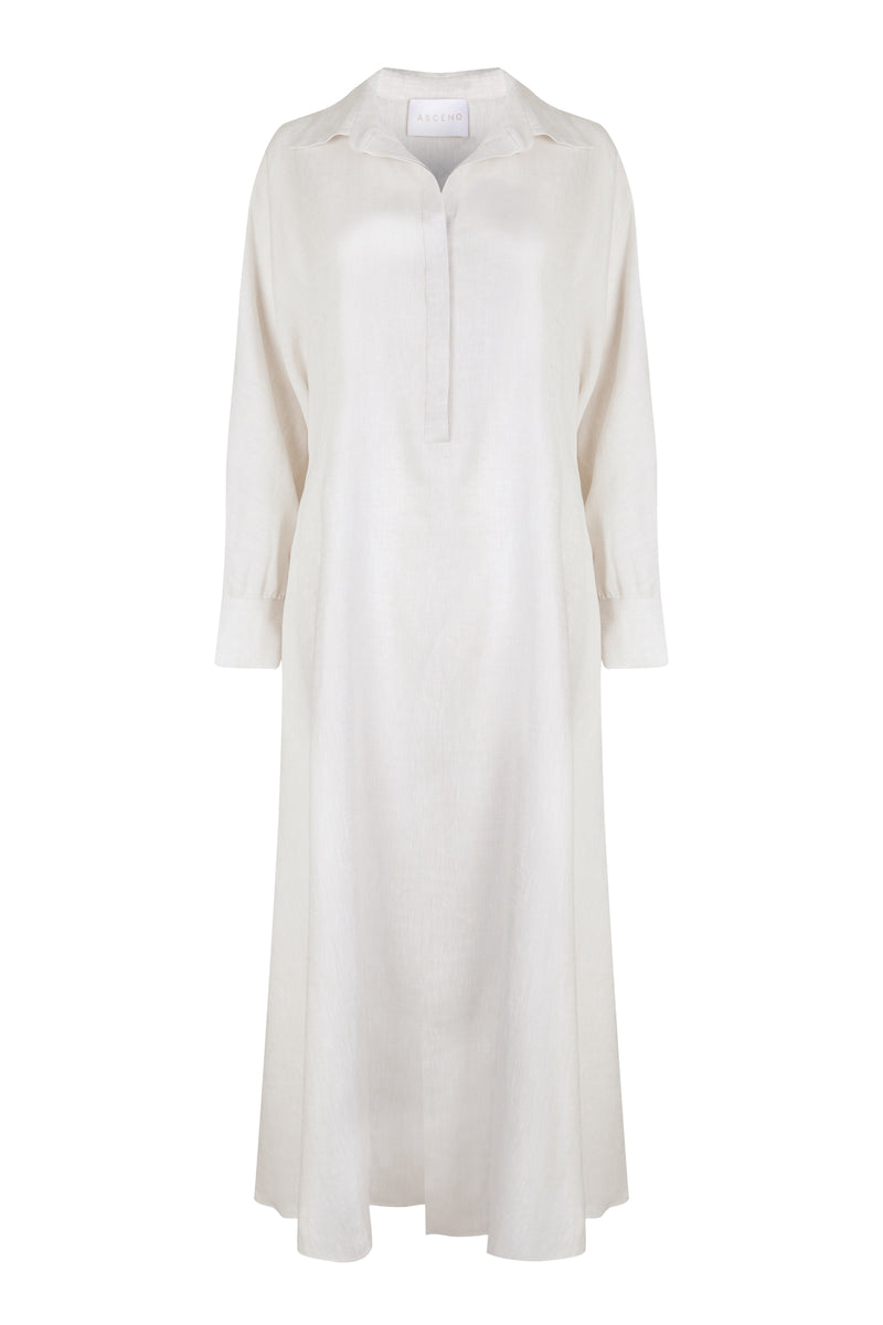 off white linen shirt dress with removable belt