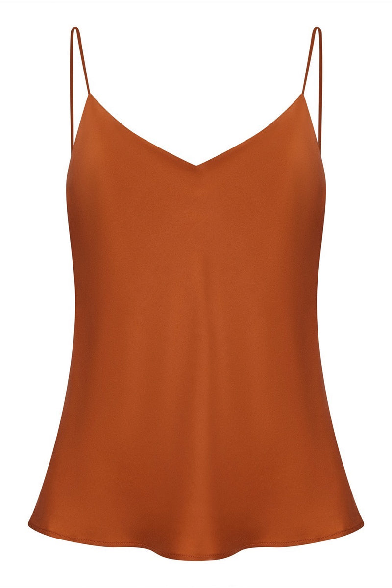 Rust bias cut silk camisole