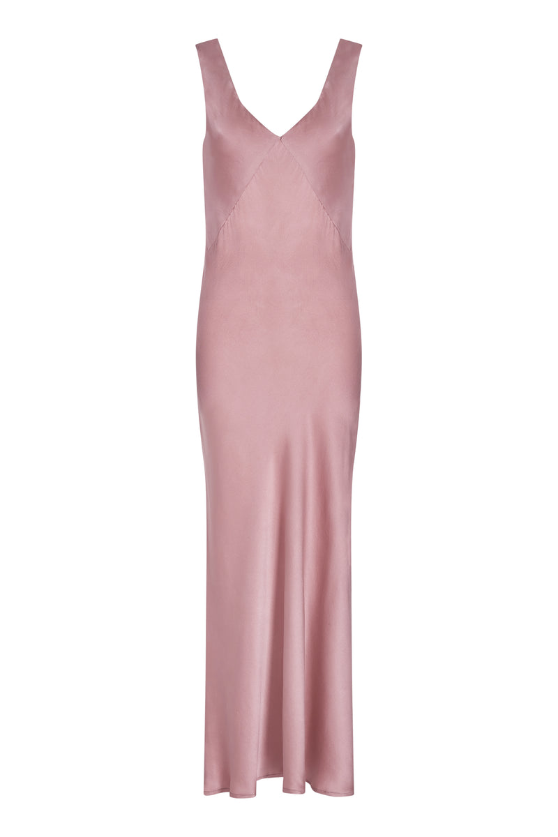 Pink bias cut silk slip dress