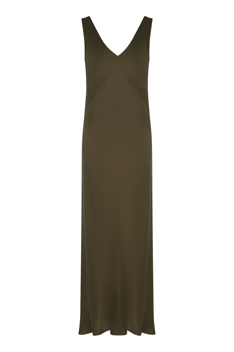 Dark Olive Long Silk Slip Dress