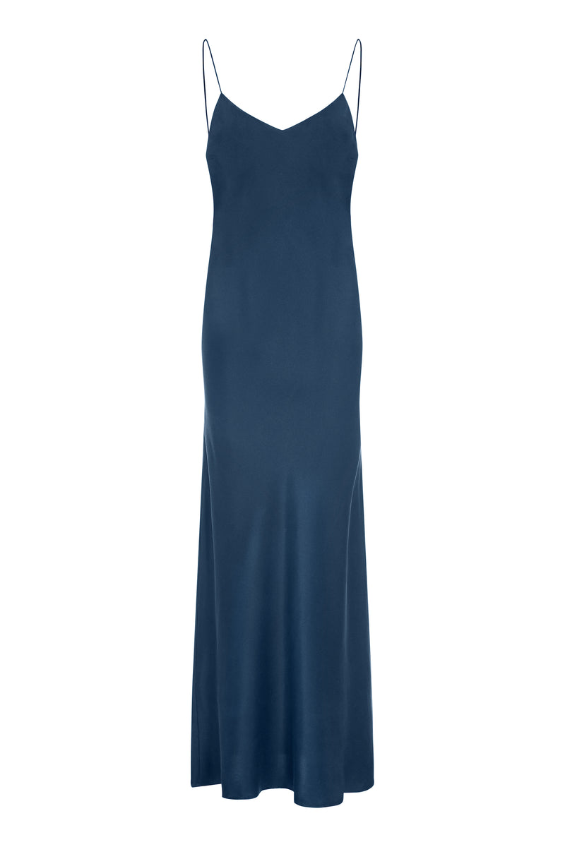 Blue bamboo satin bias silk slip dress