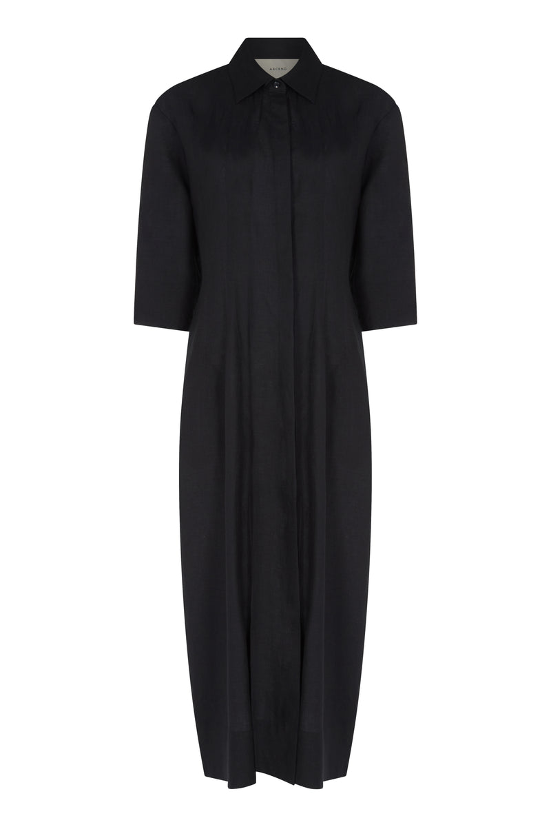 Black Linen Maxi Shirt Dress