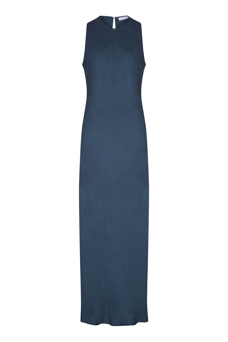 Blue silk twill bias silk slip dress