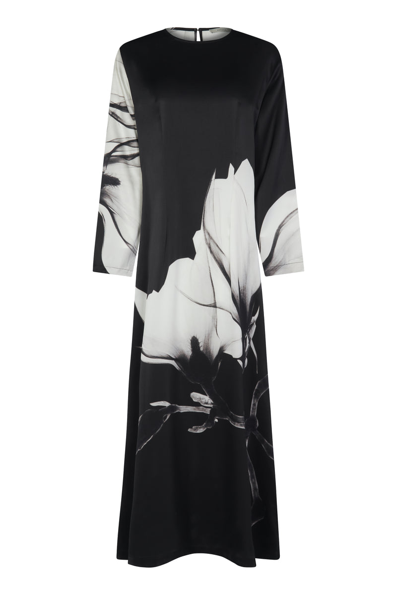 Black Floral Print Long Silk Maxi Dress