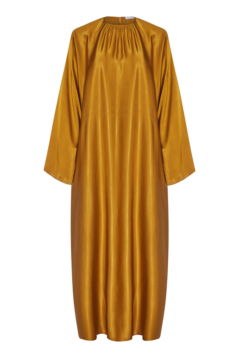 Gold bamboo satin maxi dress