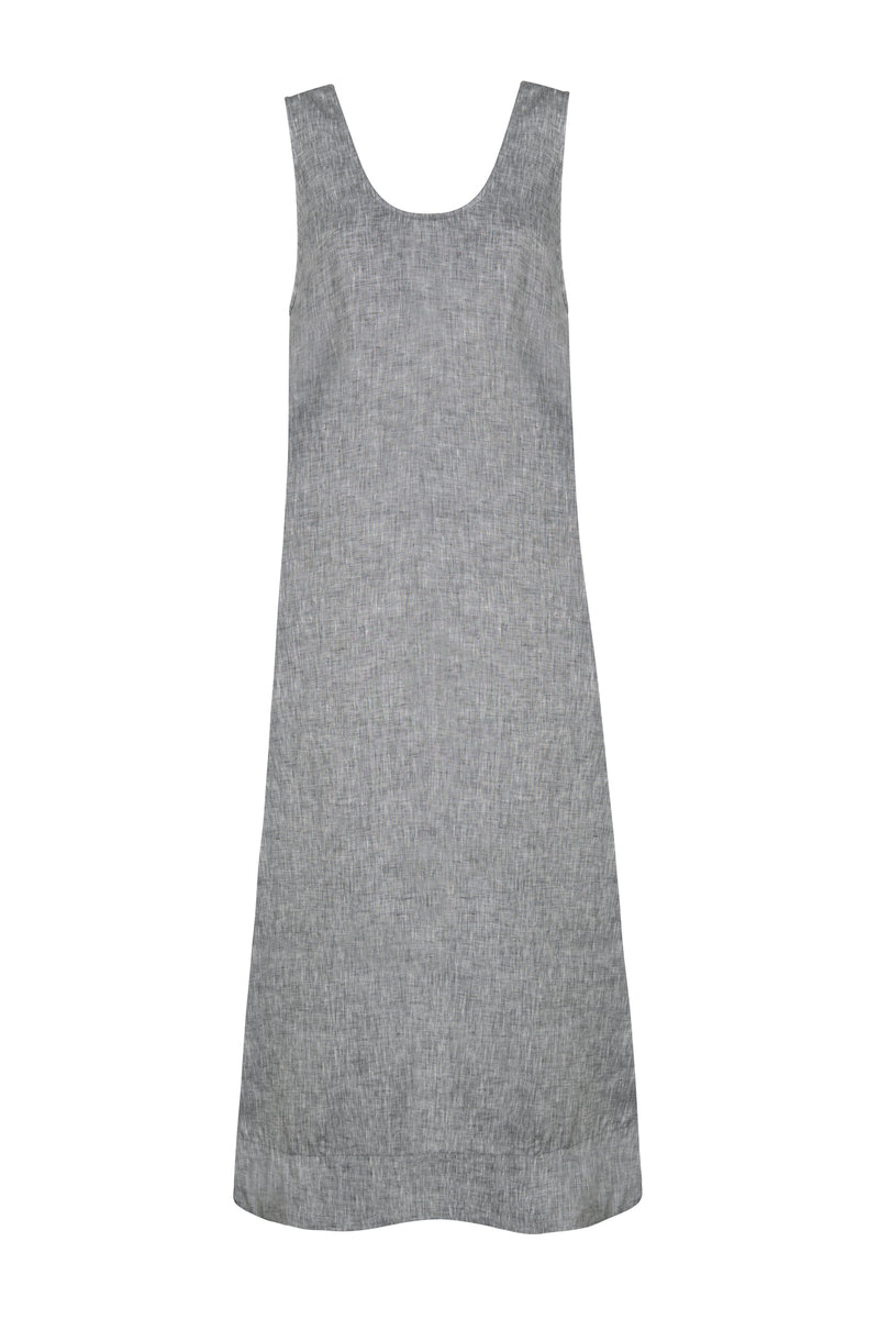 Grey scoop neck linen dress