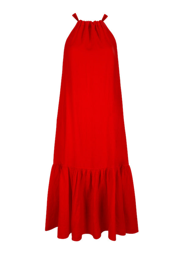 Red linen high neck tie maxi dress