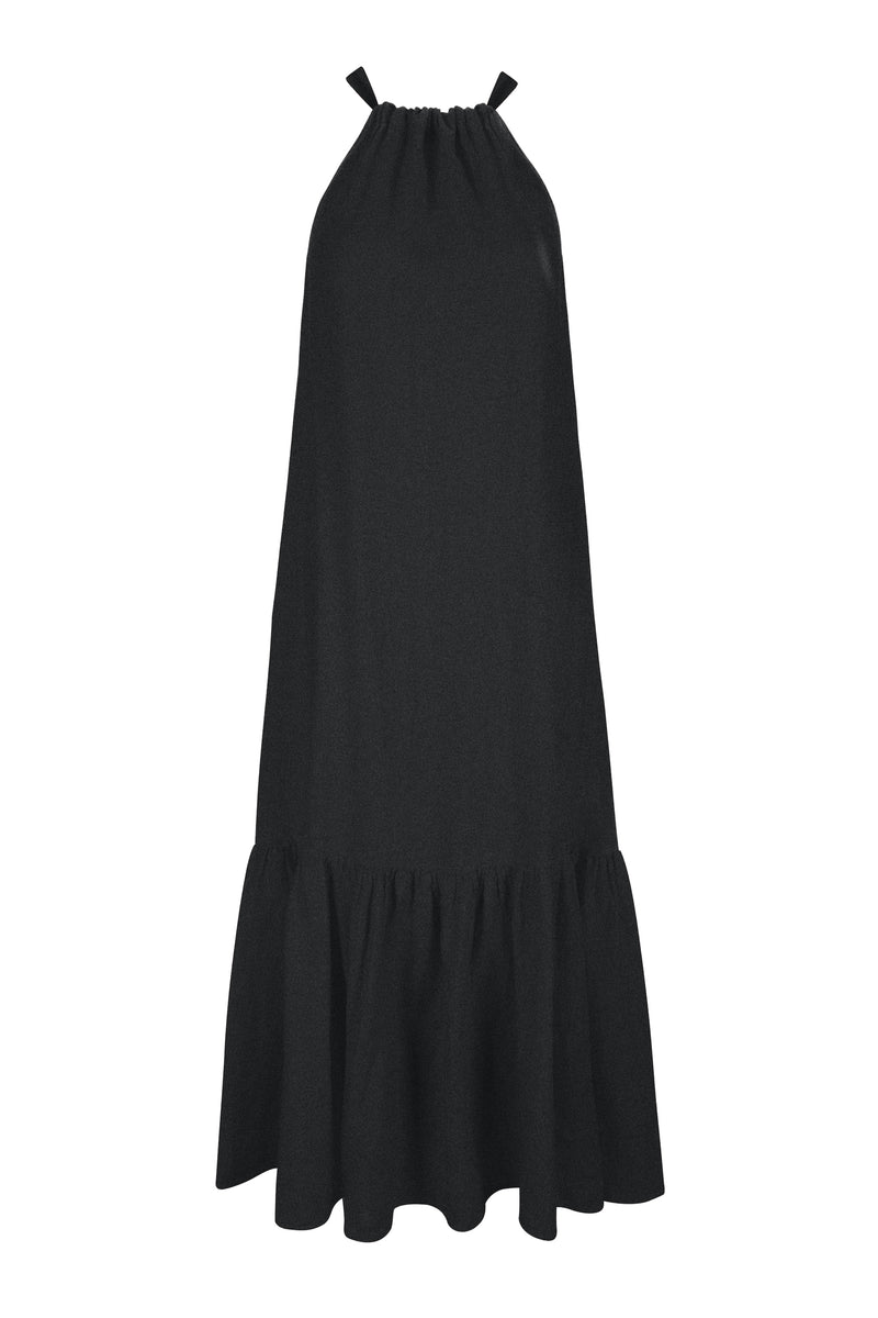 Black Linen Tie Neck Maxi Dress