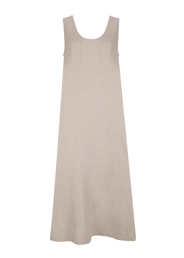 Natural beige scoop neck linen dress