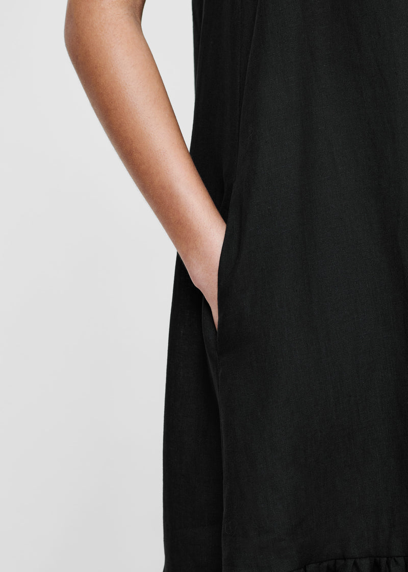 Black Linen Sleeveless Maxi Dress
