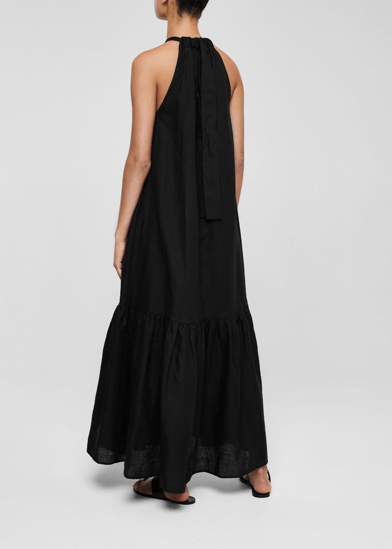 Black Linen High Neck Maxi Dress