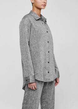 Charcoal grey oversized linen shirt
