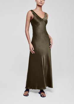 Dark Olive Silk Slip Dress