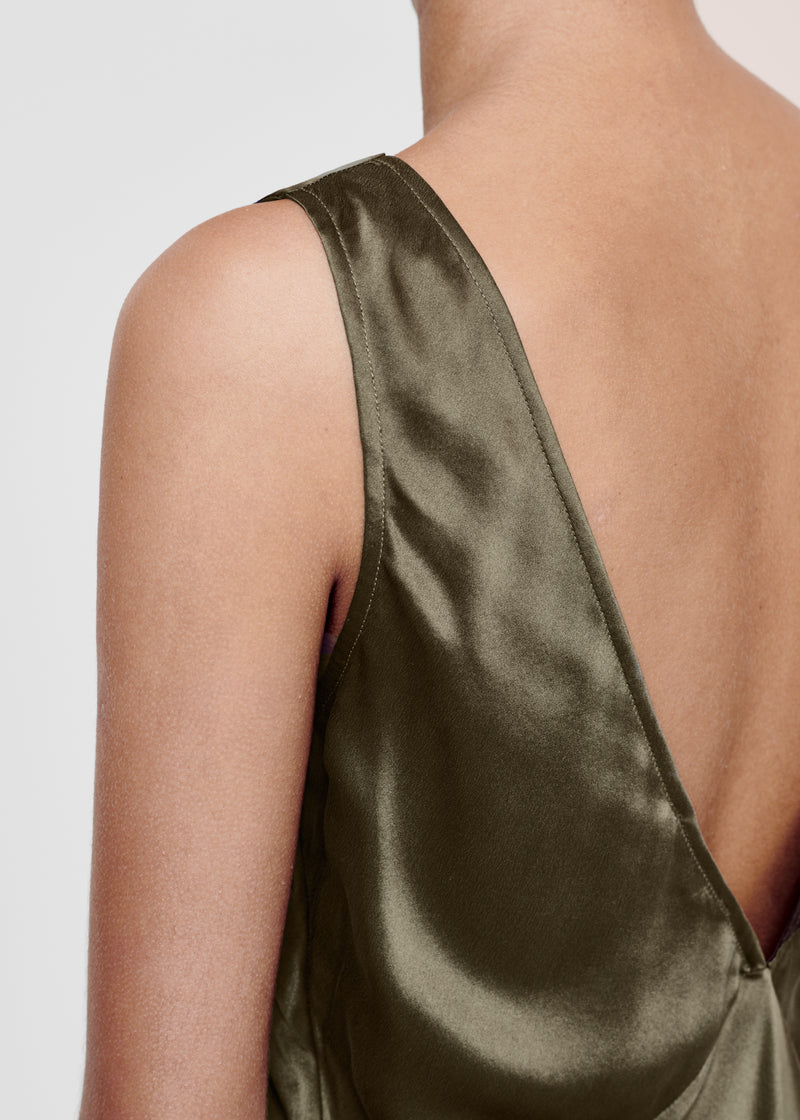 Dark Olive Bias Silk Slip Dress