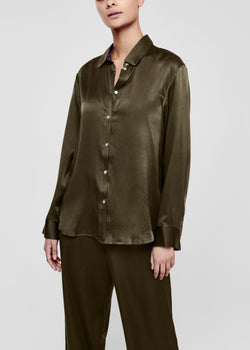 Dark Olive Silk Pyjama Shirt