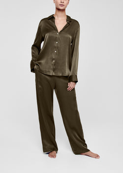 Dark Olive Silk Pyjama Bottom