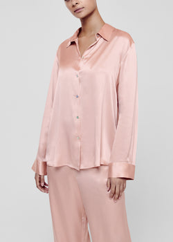 Pale Blush Silk Pyjama Shirt