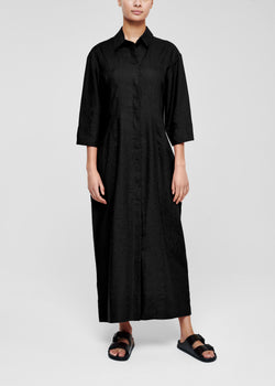 New York Black Linen Shirt Dress
