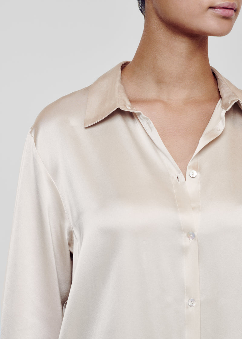 Sand Silk Collared Pyjama Shirt