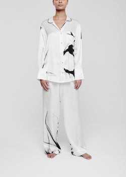White floral silk pyjama bottom