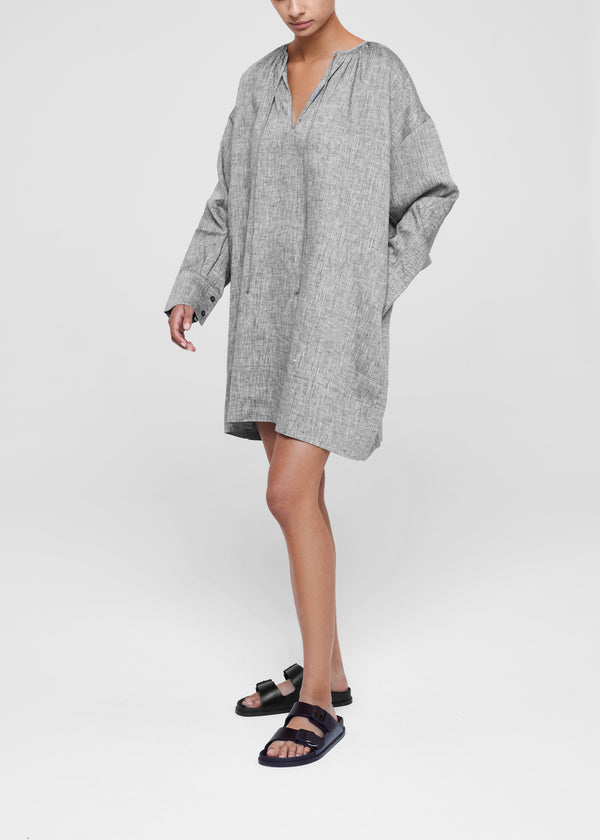 Santorini Charcoal Grey Short Linen Dress