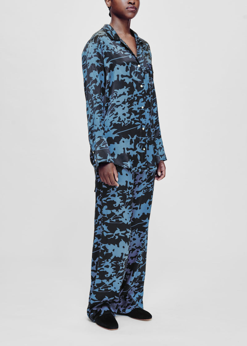 Black and blue printed silk pyjama bottom