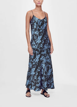 Black and blue printed silk slip dress