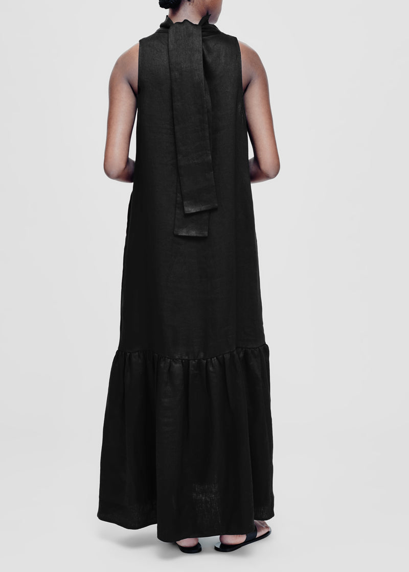 Oslo Black Linen Maxi Dress