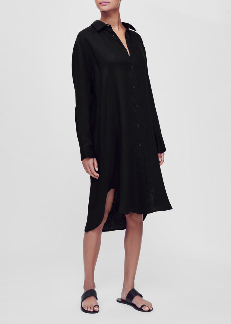 Black linen oversized shirt dress