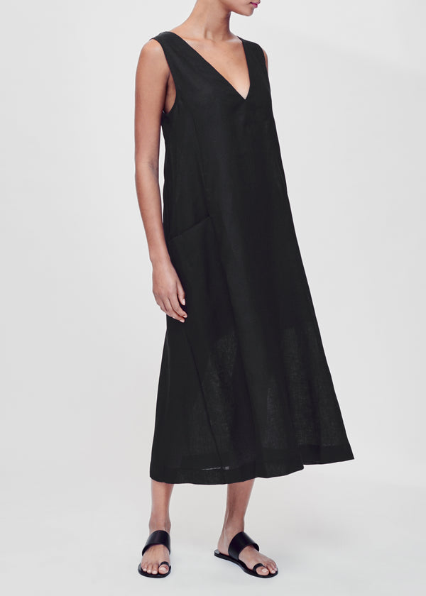 Black v neck linen dress
