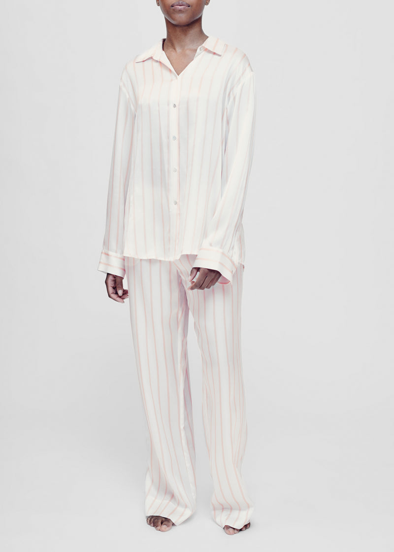 Pink and white stripe silk pyjama shirt
