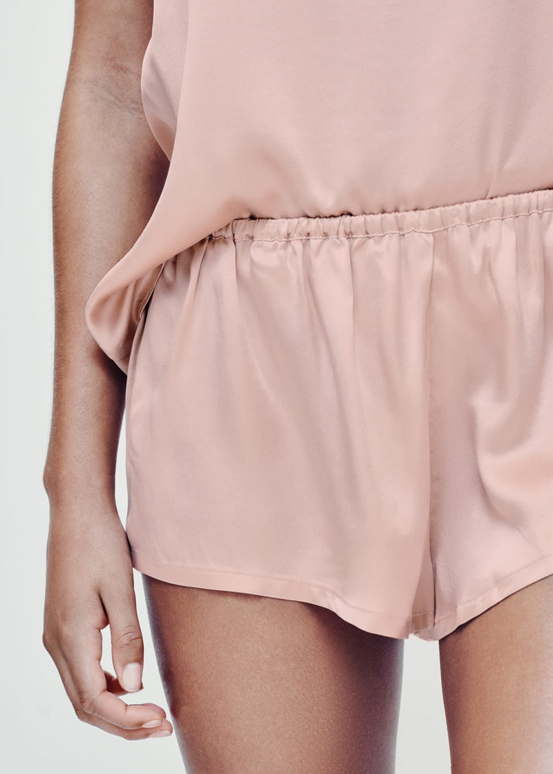 Venice Pale Blush Silk Sleep Shorts