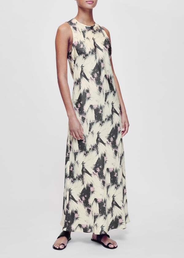 Valencia Cream Printed Silk Twill Slip Dress