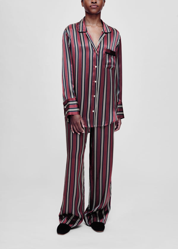 Burgundy stripe silk pyjama bottom