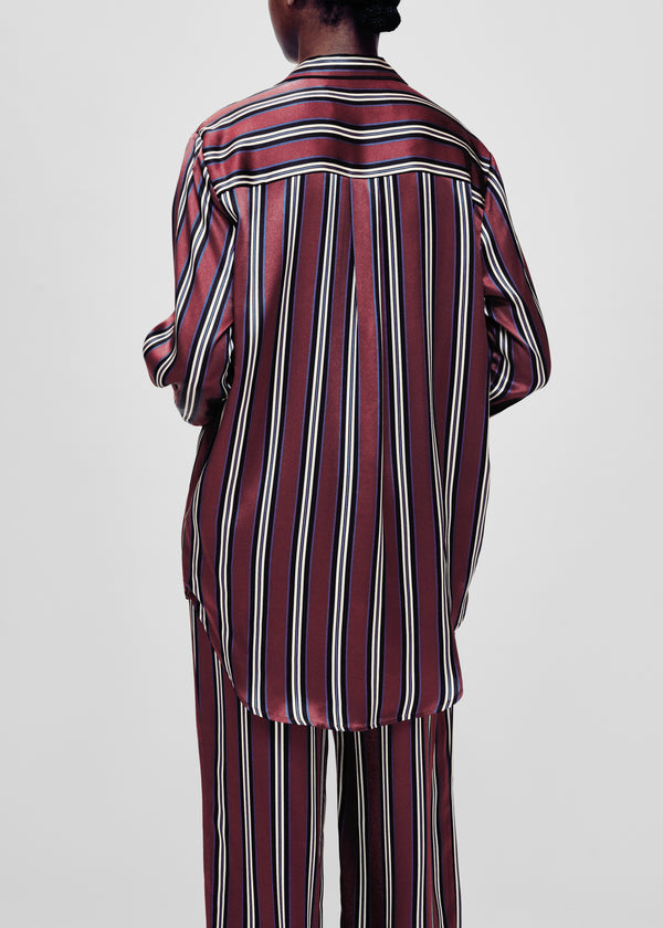 burgundy stripe silk oversized pyjama shirt