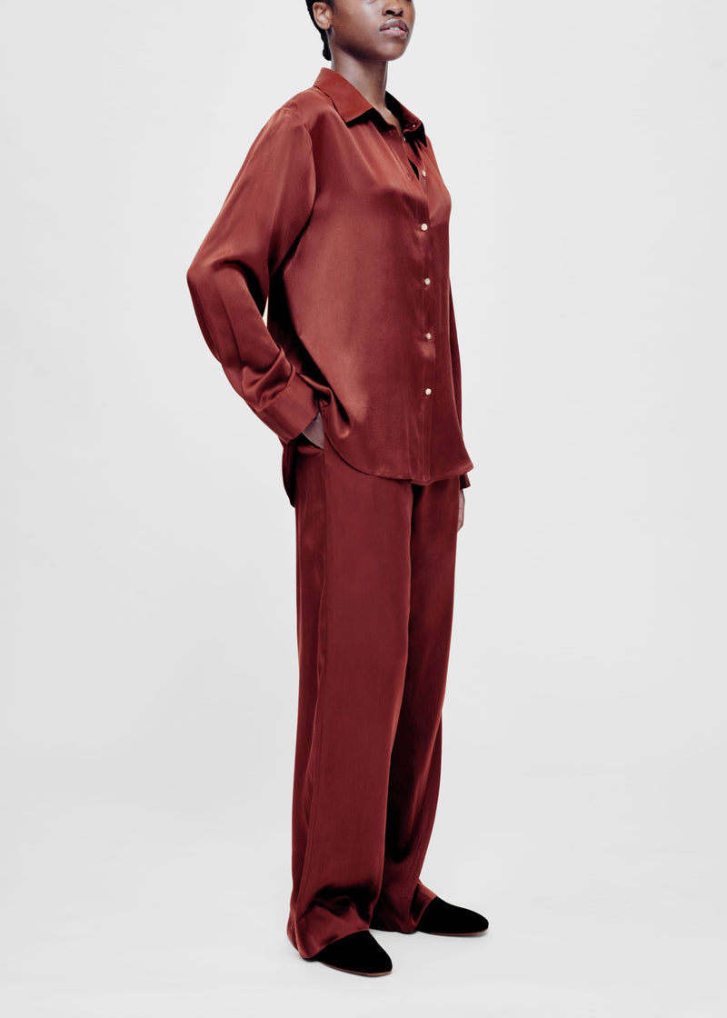 burgundy silk pyjama bottom