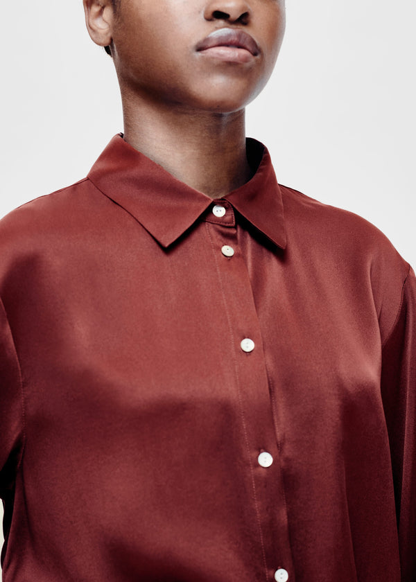 London Burgundy Silk Pyjama Shirt