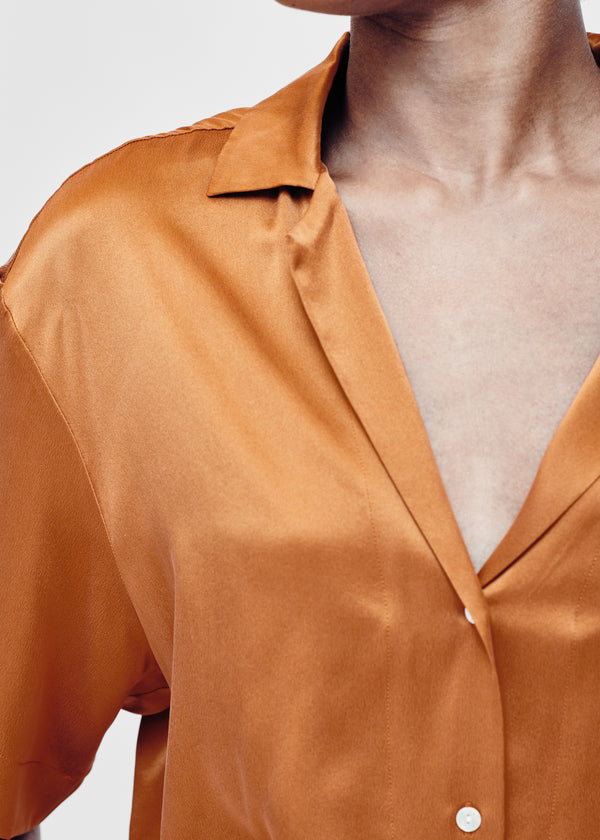 Caramel silk short sleeve shirt