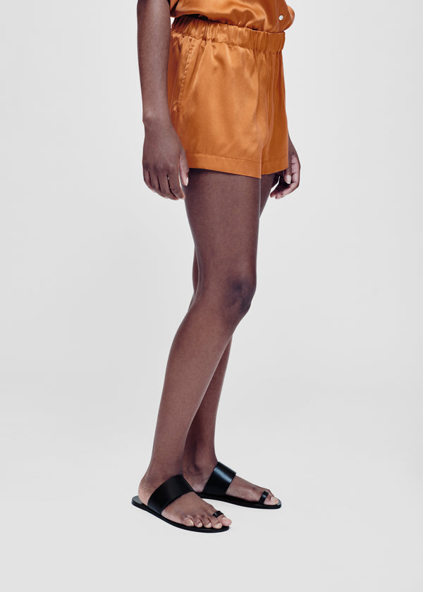 Caramel silk shorts